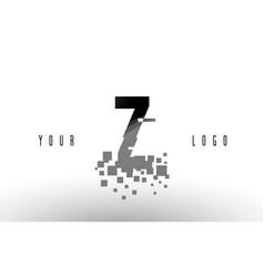Z pixel letter logo with digital shattered black vector