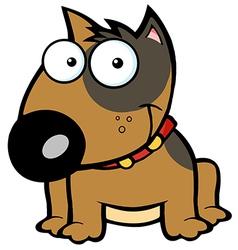 Happy Brown Bull Terrier Sitting vector image