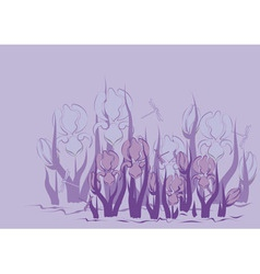 Lilac background with iris vector image