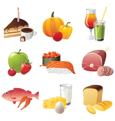 set of 9 highly detailed food icons vector image vector image