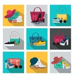 Square Fashion Accessories Icon Set vector image