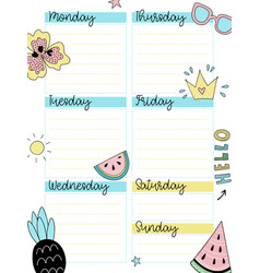 Weekly summer planner template vector