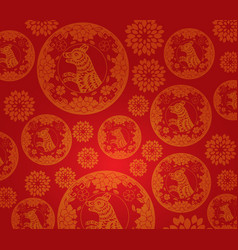 chinese new year dog pattern background vector image