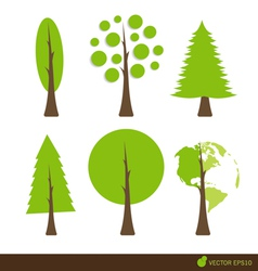 Collection of abstract tree vector image vector image