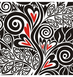 Floral pattern background with hearts vector image vector image