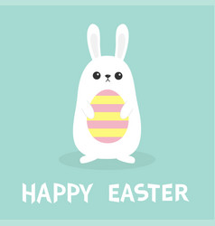 happy easter white bunny rabbit holding painted vector image