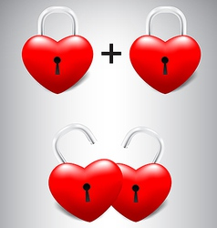 Heart lock collection set vector image vector image