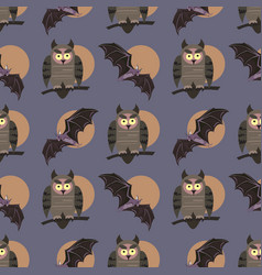 seamless pattern with birds owls on the vector image