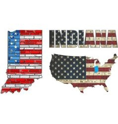USA state of Indiana on a brick wall vector image
