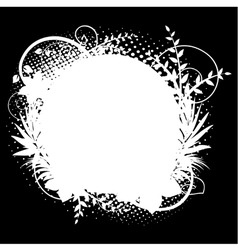 circle frame with floral decorations 2 on black vector image vector image