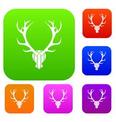 deer antler set collection vector image vector image