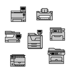 Grayscale printer icons vector image vector image
