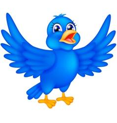 happy blue bird vector image vector image