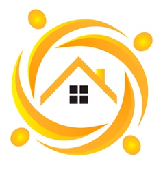House and people logo vector image vector image