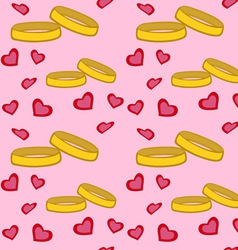 Rings Hearts Pattern vector image