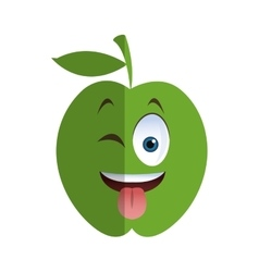 wink tongue out apple cartoon icon vector image