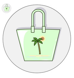 beach bag flat logo and icon vector image