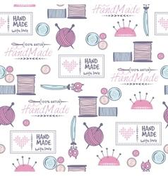 Handmade needlework badges pattern vector image