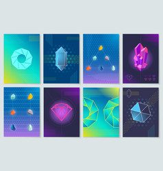 minerals and stones collection vector image vector image