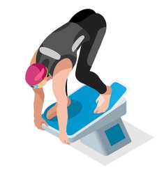 Swimming 2016 Sports 3D Isometric vector image vector image