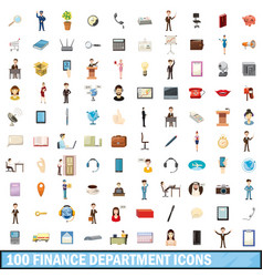 100 finance department icons set cartoon style vector