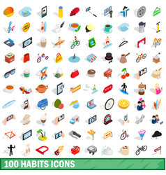 100 habits icons set isometric 3d style vector image