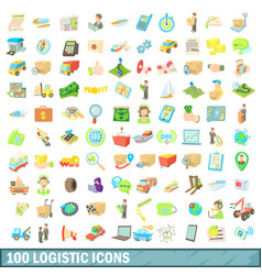 100 logistic icons set cartoon style vector image