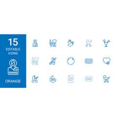 15 orange icons vector