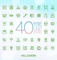 40 trendy thin icons halloween set vector