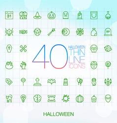 40 trendy thin icons halloween vector