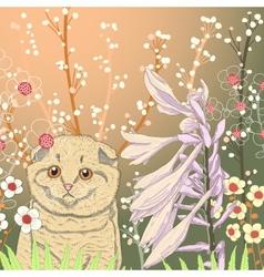 a kitten in the garden vector image