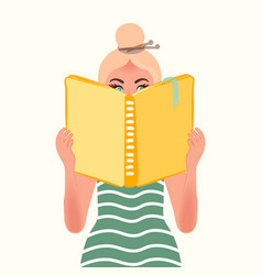 A person reads a newspaper or magazine vector