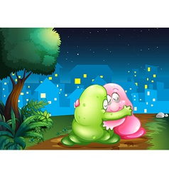 A pink and a green couple monsters hugging each vector