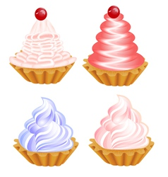 a set of delicious cakes on the white vector image