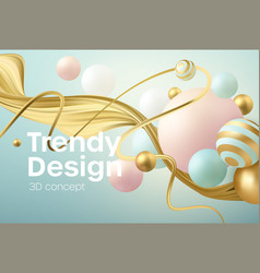 abstract background with 3d geometric shapes vector image