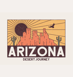 Arizona t-shirt design with rocky mountains eagle vector