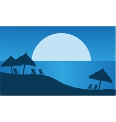 At night silhouette of summer scenery vector