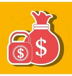 Bag money padlock dollar vector