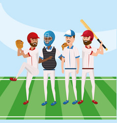 Baseball team player competition game vector