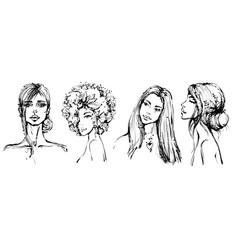 beautiful fashion black and white girls portraits vector image
