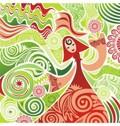 Beautiful girl nature spring summer background vector image