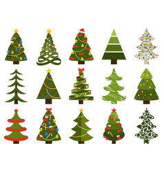 Big set christmas tree symbols with without decor vector