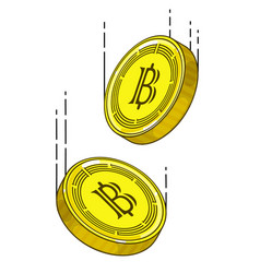 bitcoins falling in air linear colored vector image
