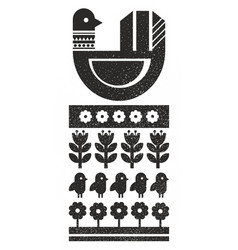 Black and white scandinavian print with bird vector