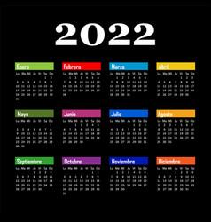 Black calendar on 2022 year into spanishcolor vector