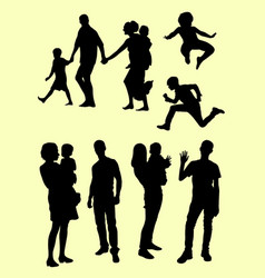 black silhouette of family vector image