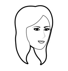 Black silhouette side profile face woman with vector