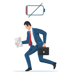 Businessman character tired low battery vector