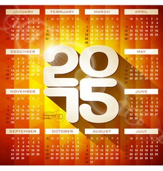 Calendar 2015 with long shadow vector image