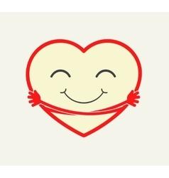Cartoon heart hugging itself vector